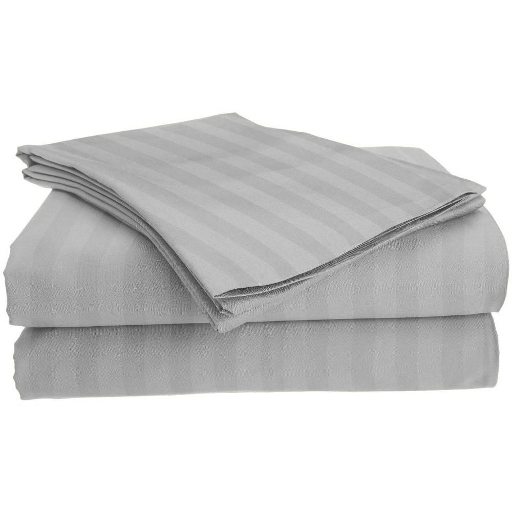 Image of Full Garment Wash Microfiber Striped Sheet Set Light Gray - Posh Home