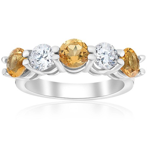 Pompeii3 2 1/2ct Citrine & Diamond 5-Stone Ring 14K White Gold - image 1 of 4