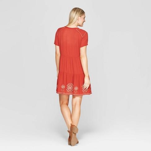 8f74f3eb97 Women s Short Sleeve V-Neck Shift Midi Dress With Embroidery - Knox Rose™  Hematite   Target