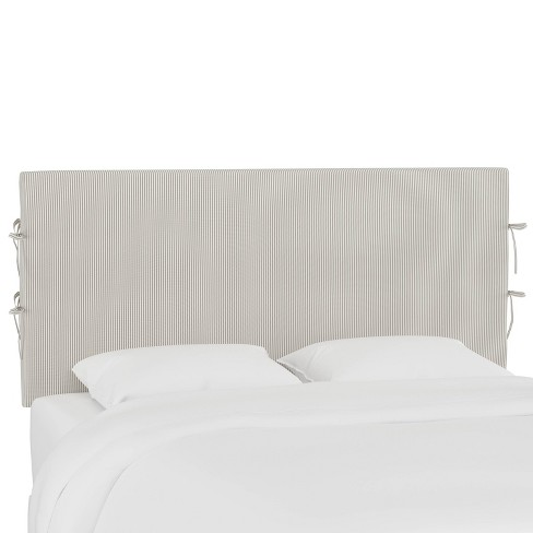 California King Slipcover Headboard with Ties Oxford Stripe Taupe - Cloth & Company - image 1 of 4