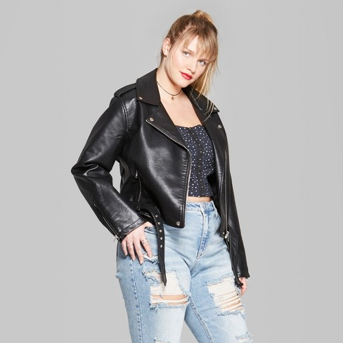 Women S Plus Size Faux Leather Moto Jacket Wild Fable Black Target