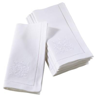 6pk White Embroidered Fleur Design Napkin 20  - Saro Lifestyle®