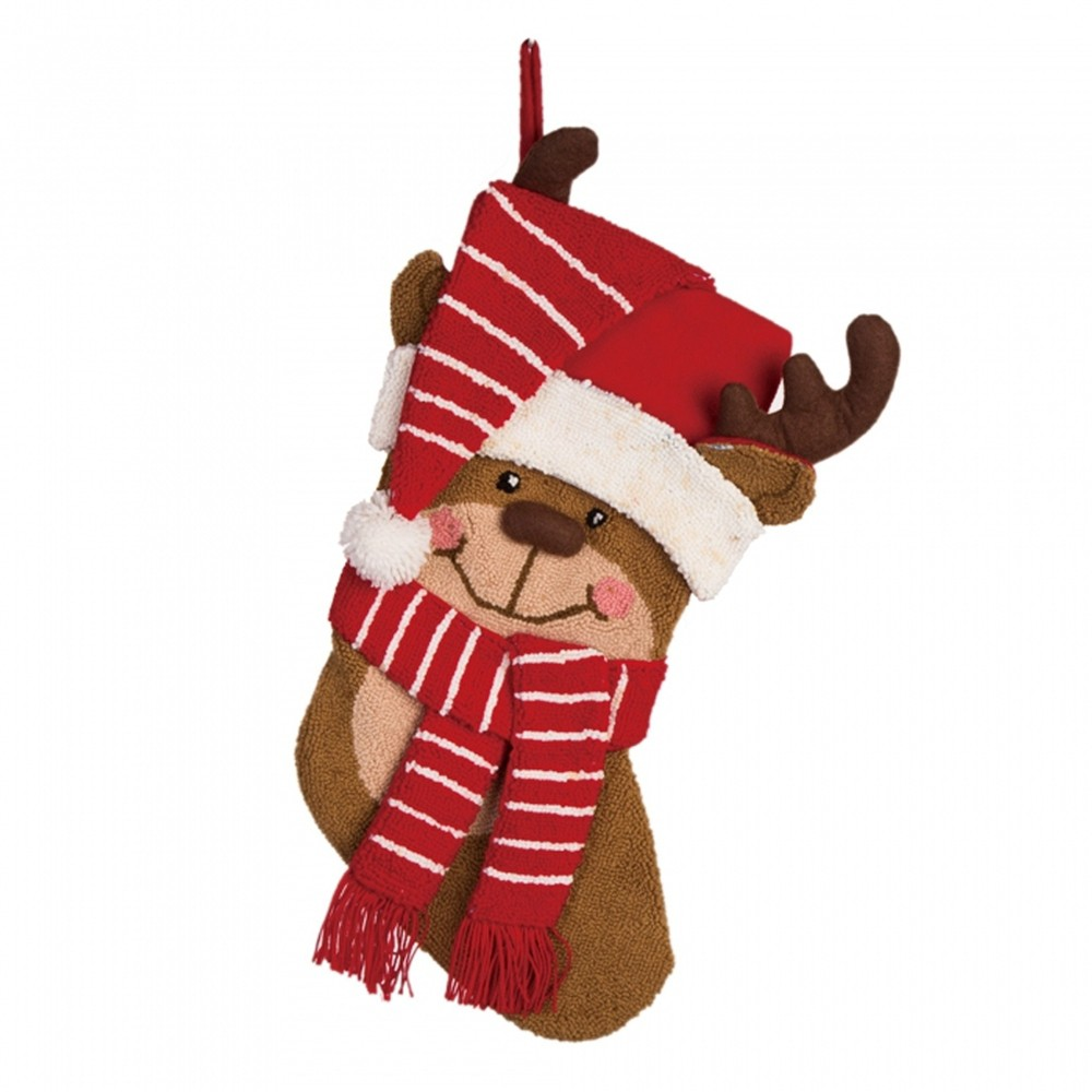 Image of 3D Reindeer Hooked Christmas Stocking - Glitzhome