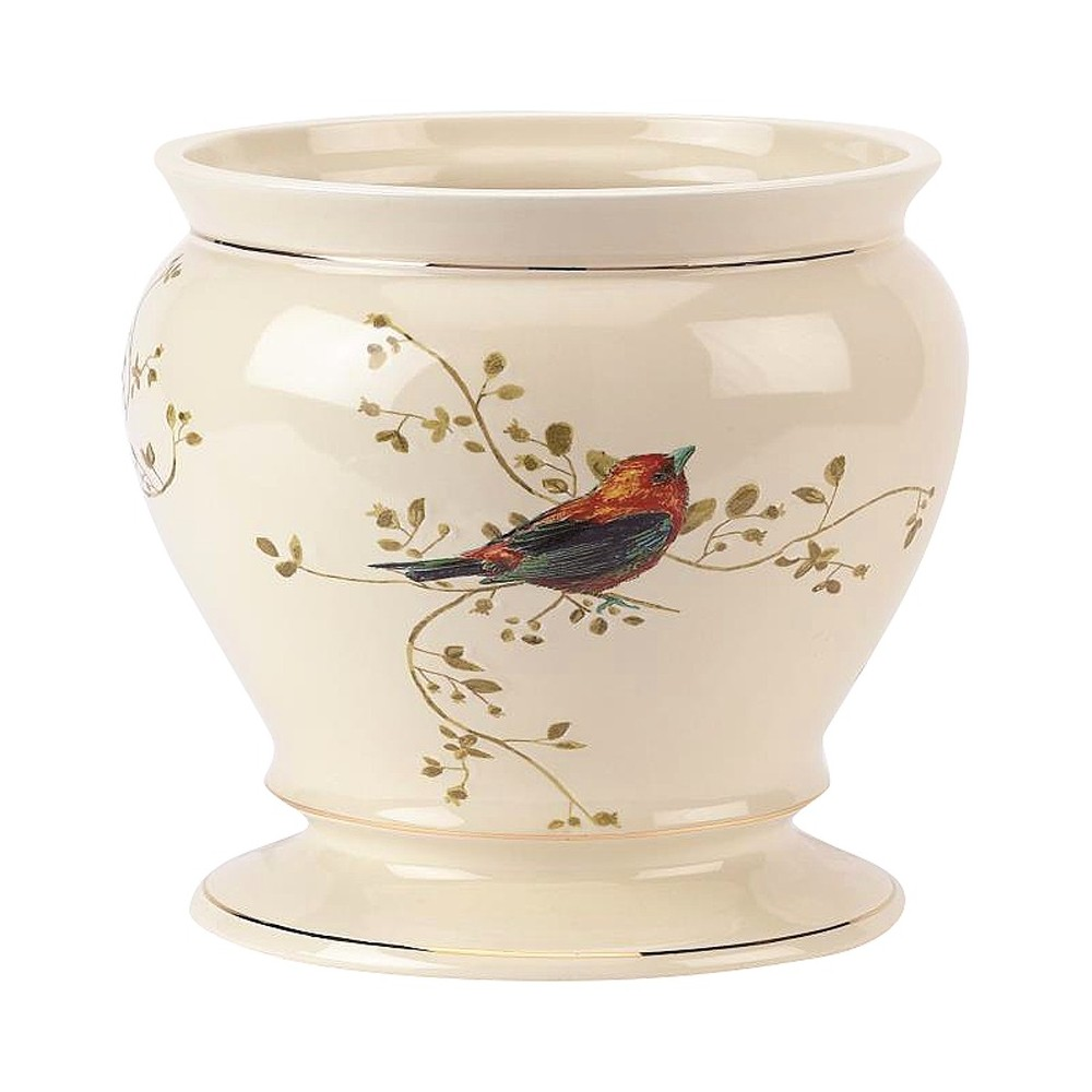 Avanti Gilded Birds Wastebasket - Ivory, Beige
