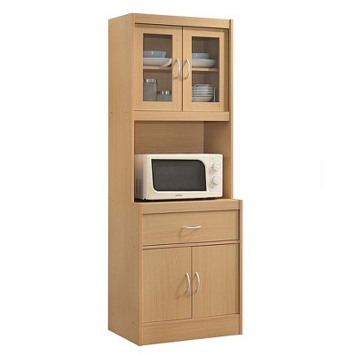 Hodedah Freestanding Kitchen Storage Cabinet w/ Open Space for Microwave, Beech
