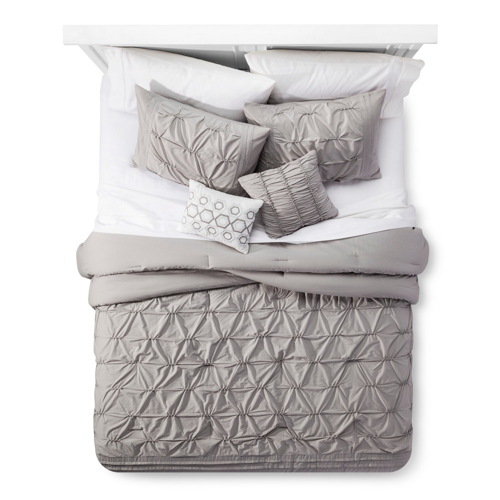 Light Gray Karter Comfort Washed Cotton Multiple Piece Comforter Set (Queen) - 5-pc