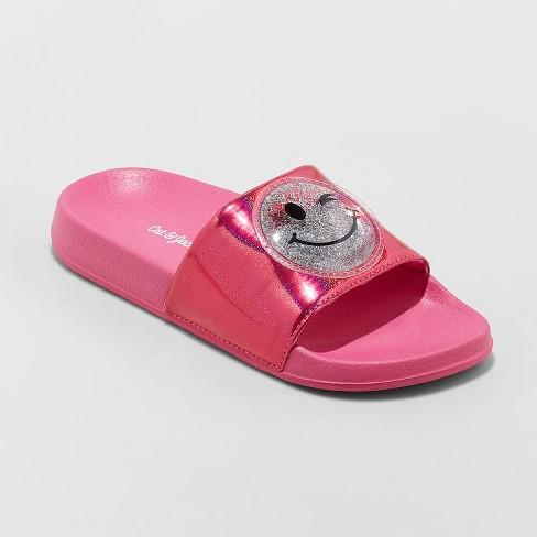 84511475aff46 Girls  Aneta Glitter Emoji Slide Sandals - Cat   Jack™ Pink 4-5   Target