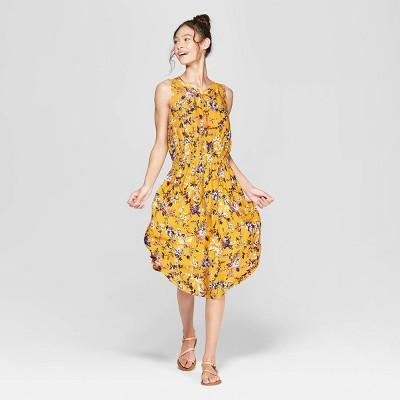 e7c3471c19e4 Women s Floral Print Sleeveless V-Neck Cinched Waist Midi Dress -  Xhilaration™ Mustard Yellow