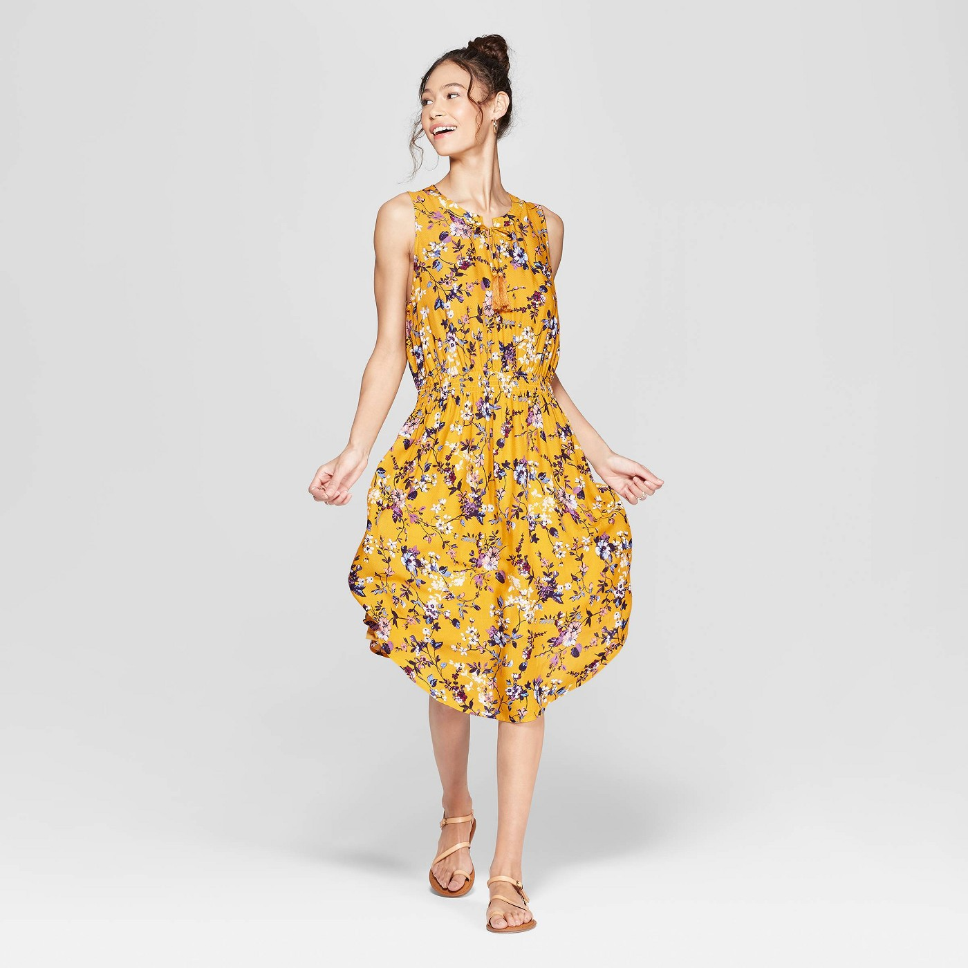 Women's Floral Print Sleeveless V-Neck Cinched Waist Midi Dress - Xhilaration™ Mustard Yellow - image 1 of 2