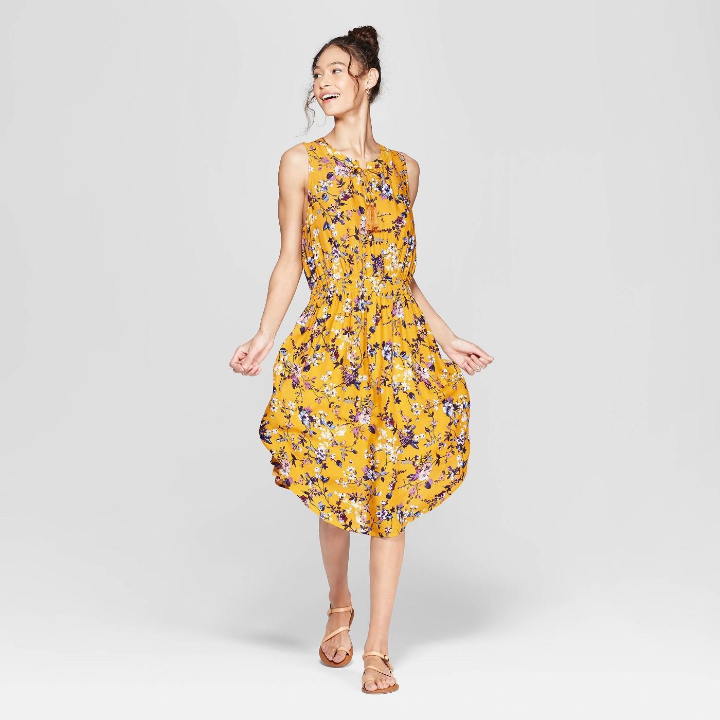 Women's Floral Print Sleeveless V-Neck Cinched Waist Midi Dress - Xhilaration™ Mustard Yellow - image 1 of 2