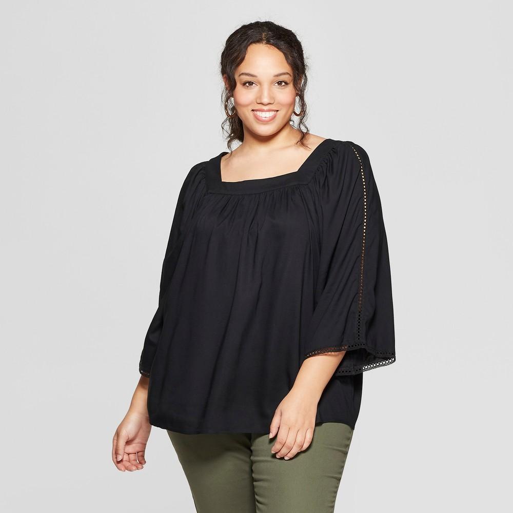 Women's Plus Size Short Sleeve Square Neck Top - Ava & Viv Black 1X