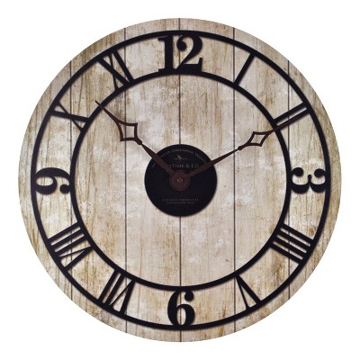 Reclaimed Whitewash 18  Round Wall Clock Aged White - FirsTime®