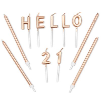 """Blue Panda 31-Count Rose Gold """"Hello 21"""" Cake Topper Letters and 5"""" Birthday Candles for 21st Birthday Party"""