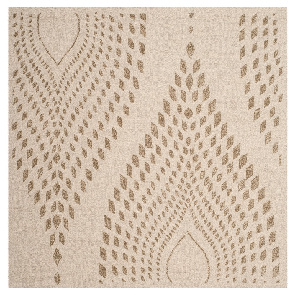 Brown Abstract Tufted Square Area Rug - (5'X5') - Safavieh, Brown/Brown