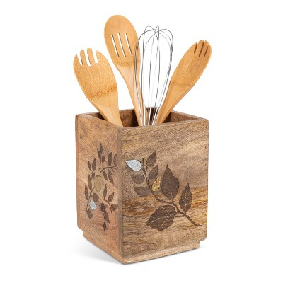 GG Collection Mango Wood with Laser and Metal Inlay Leaf Design Utensil Holder.