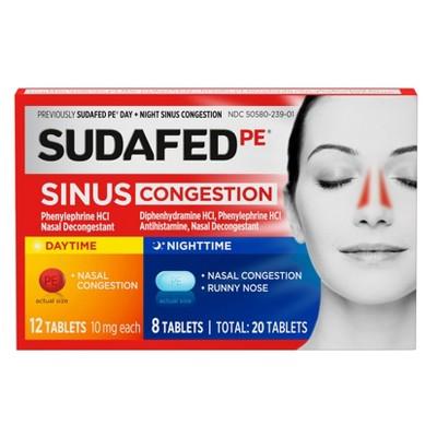 Sudafed PE Day + Night Maximum Strength Sinus Decongestant Tablets - 20ct