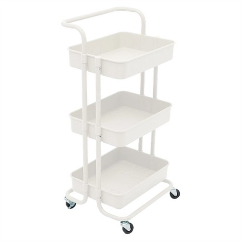 Pemberly Row 3 Tier Rolling Utility Cart With Storage In White Target