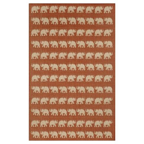 """Liora Manne Terrace Elephants Indoor/Outdoor Area Rug - Red (4'10""""X7'6"""") - image 1 of 1"""