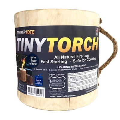 TimberTote Mighty Tiny Torch Small One Log Campfire Camping Cooking Camp Fire Wood Log with Fire Start Stick