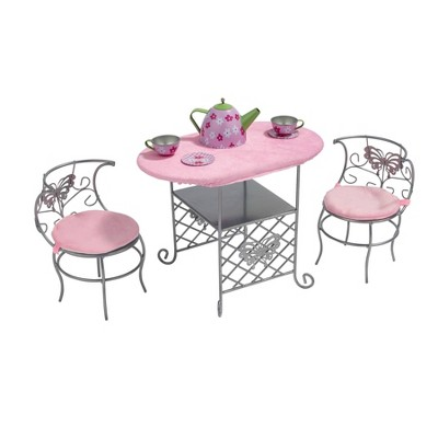Badger Basket Tea Time Metal Doll Table and Chair Set with Accessories - Silver/Pink/Multi