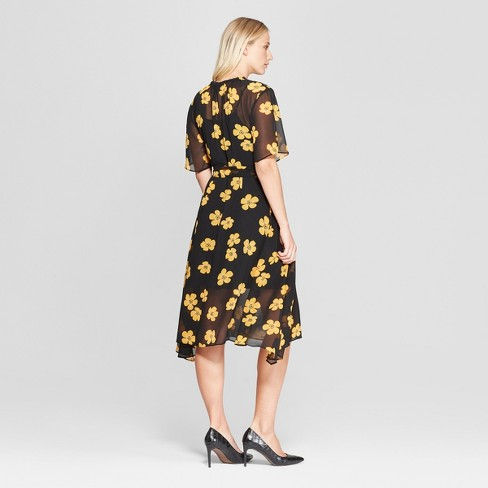 Women s Floral Print 3 4 Sleeve Belted Flowy Midi Dress - Who What Wear™  Black Yellow XXL   Target 8c52ed6944