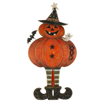 """Northlight 28"""" Lighted Standing Pumpkin With A Ghost And Bat Halloween Tabletop Decor"""