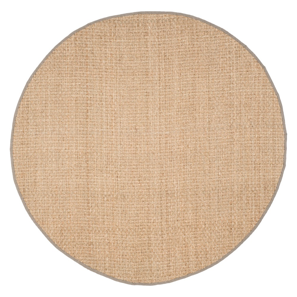 7' Solid Loomed Round Area Rug Natural/Gray - Safavieh