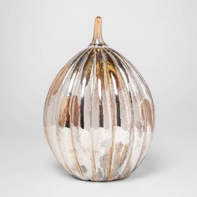 12.5  x 8.7  Light-Up Glass Pumpkin Silver - Threshold™