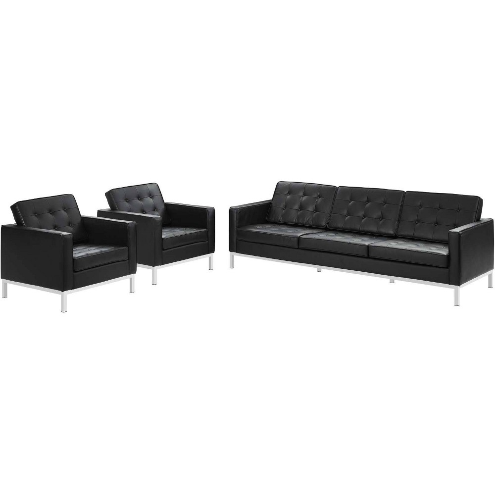 Image of 3pc Loft Leather Sofa & Armchair Set Black - Modway