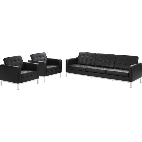 3pc Loft Leather Sofa and Armchair Set - Modway - image 1 of 4