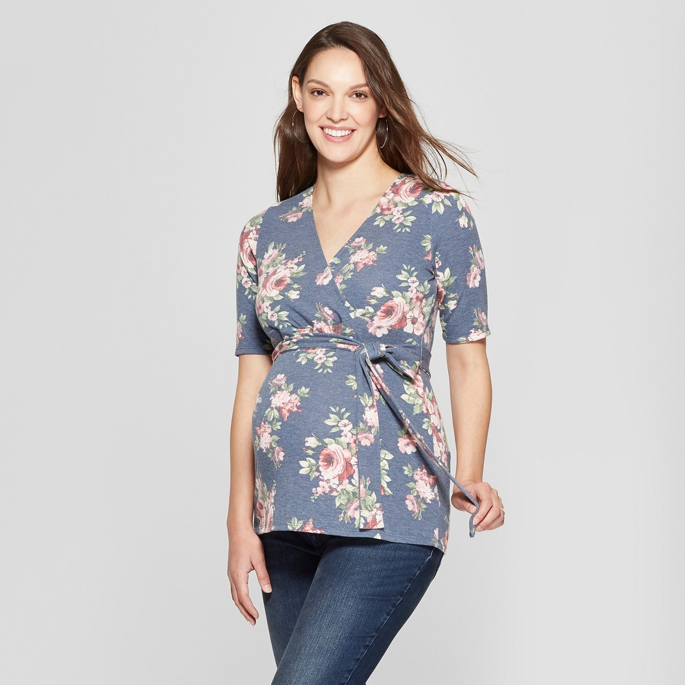 Maternity Floral Print Elbow Sleeve V-Neck Printed French Terry Top - MaCherie - Navy L, Women's, Blue