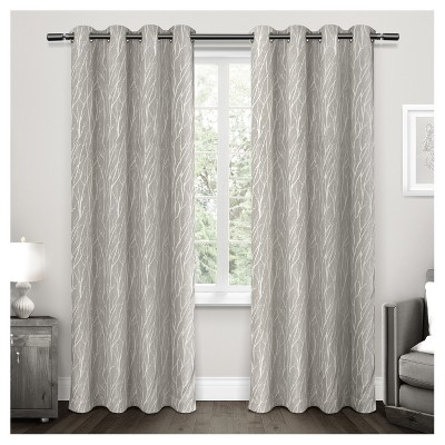 Forest Hill Woven Room Darkening Grommet Top Window Curtain Panel Pair - Exclusive Home™