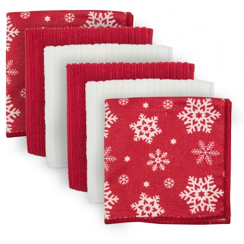 Red/White Snowflakes Dish Cloth - Design Imports - image 1 of 4