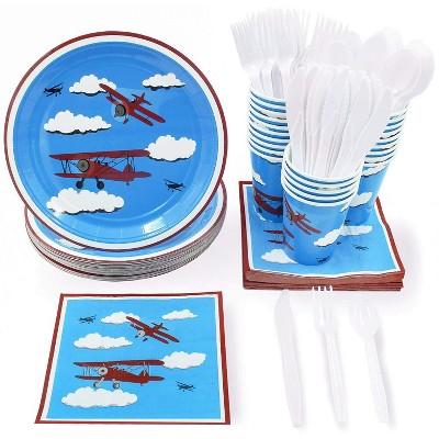 24 Set Kids Airplane Birthday Party Dinnerware Plate Knife Spoon Fork Cup Napkin