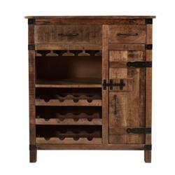 Crossroads One Door Two Drawer Wine Cabinet Natural Brown - Treasure Trove
