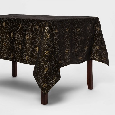 "84""x60"" Metallic Gold Halloween Tablecover (with Skulls)- Hyde & EEK! Boutique™"