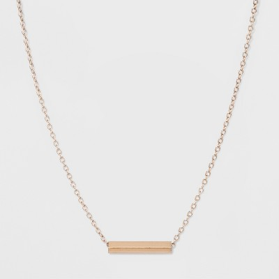"""Rectangular Bar Short Necklace (16"""")   A New Day™ Rose Gold by A New Day"""
