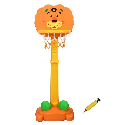 Costway Adjustable Kids 3-in-1 Sports Activity Center Tiger Basketball Hoop Set W/Balls