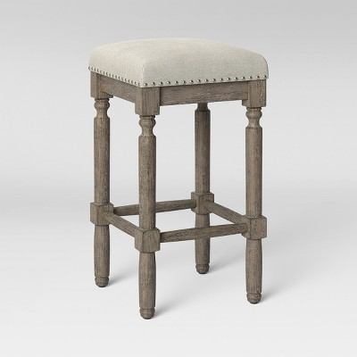 Erving Wood and Upholstered Backless Counter Height Barstool Taupe - Threshold™