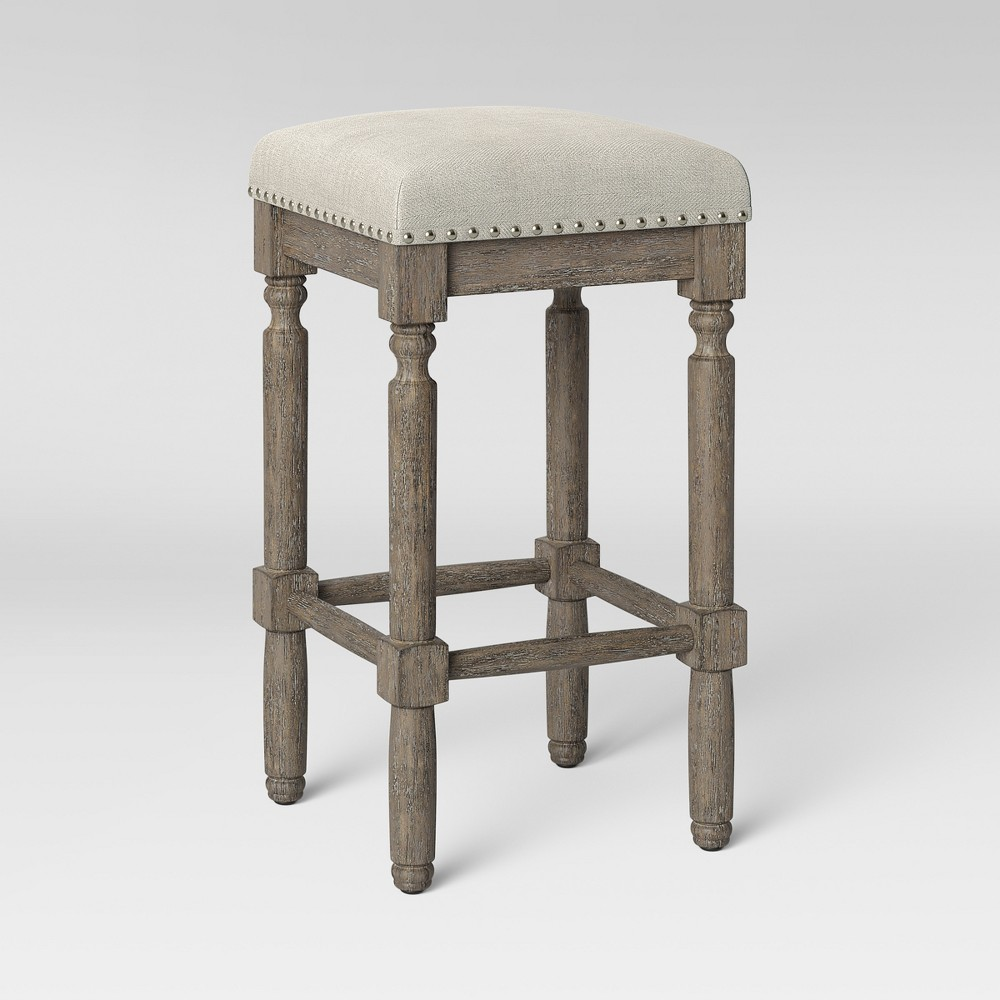 Tremendous Erving Wood And Upholstered Backless Counter Stool Taupe Gmtry Best Dining Table And Chair Ideas Images Gmtryco