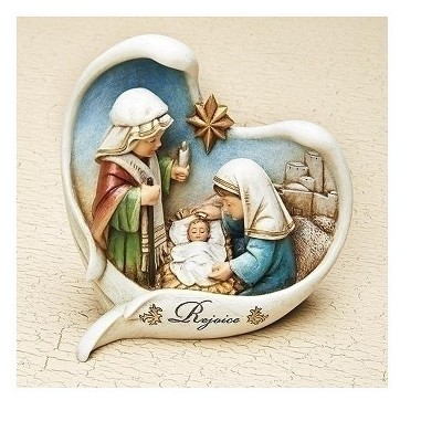 """Roman 5.5"""" White and Blue Nativity Scene Angel Wings Christmas Tabletop Decor"""
