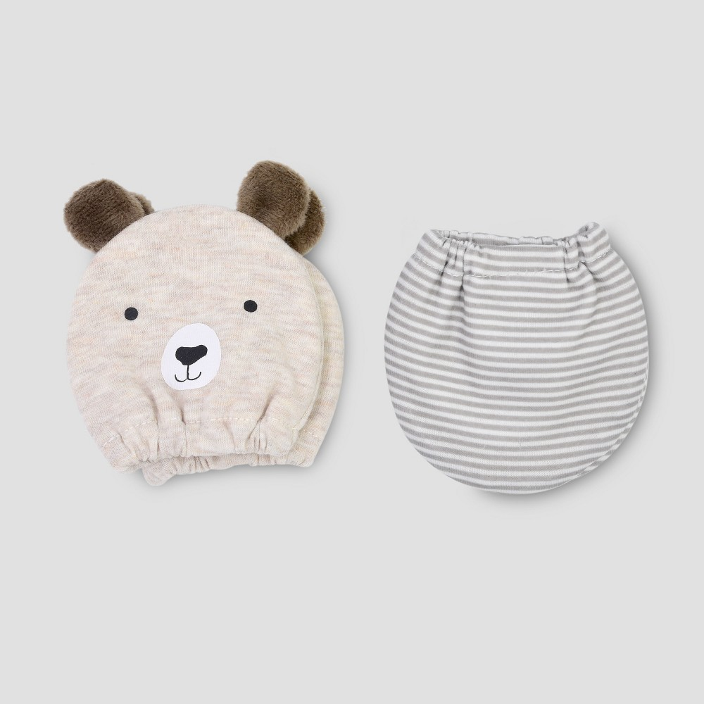 Baby Boys' 2pk Bear Mittens - Just One You made by carter's Brown NB, Size: Newborn