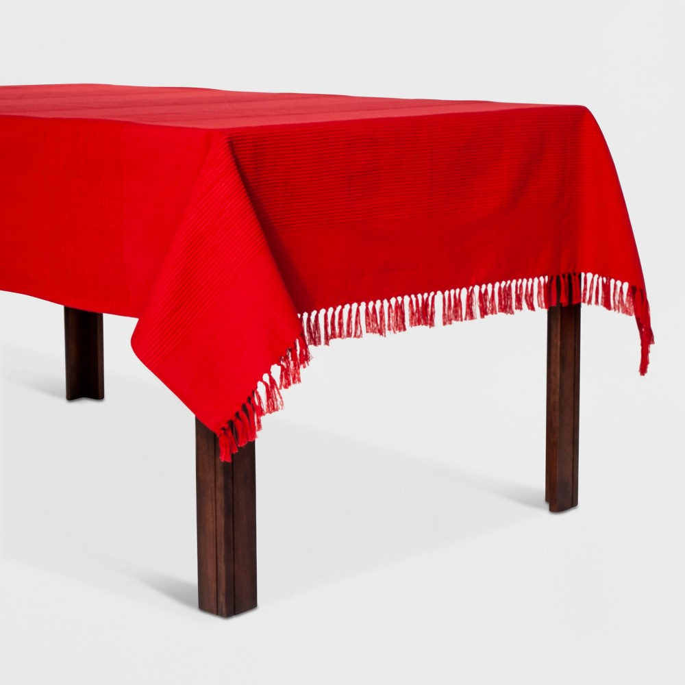 """Image of """"104""""""""x60"""""""" Casual Texture Stripe Tablecloth Red - Threshold"""""""