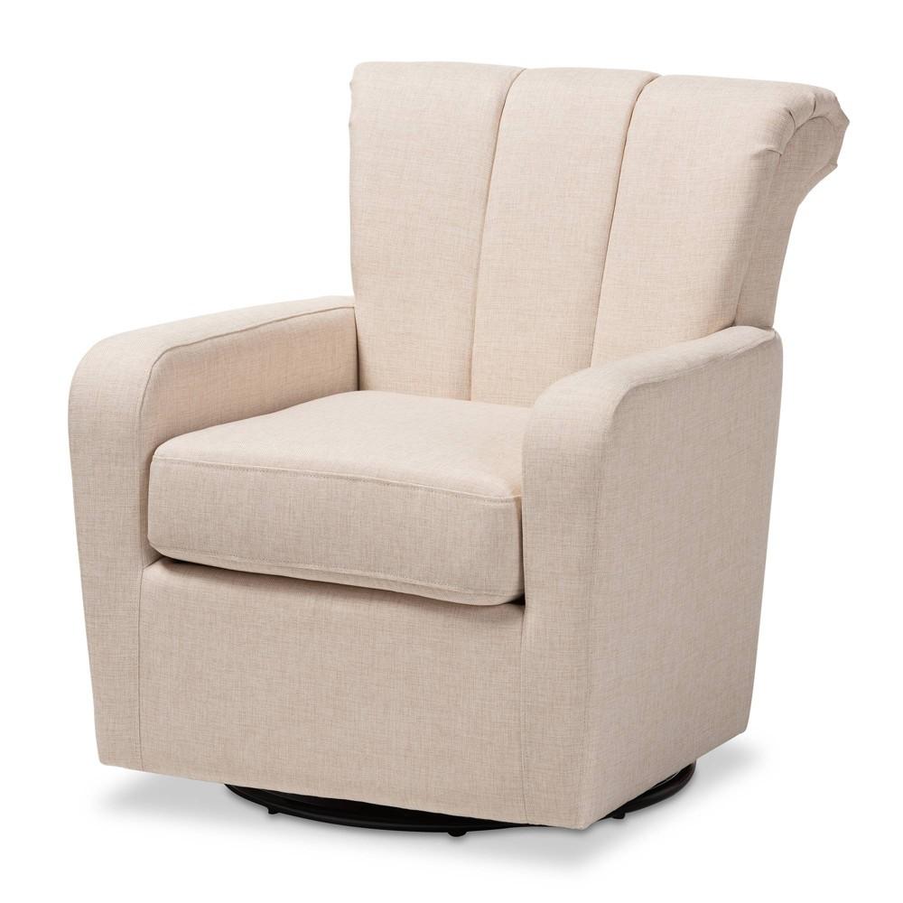 Rayner Fabric Upholstered Swivel Chair Beige - Baxton Studio