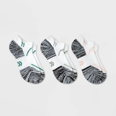 Women's Striped Accents Cushioned 3pk No Show Double Tab Athletic Socks - All in Motion™ 4-10