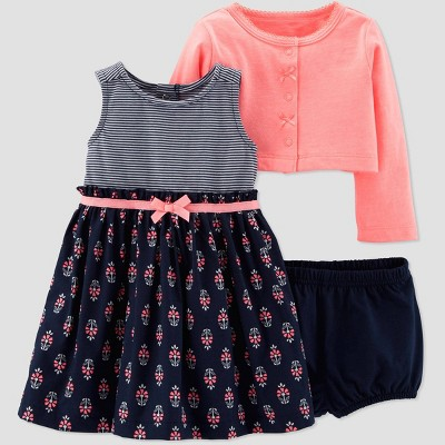 Baby Girls' 2pc Floral Dress Set - Just One You® made by carter's Navy Blue/Peach 6M