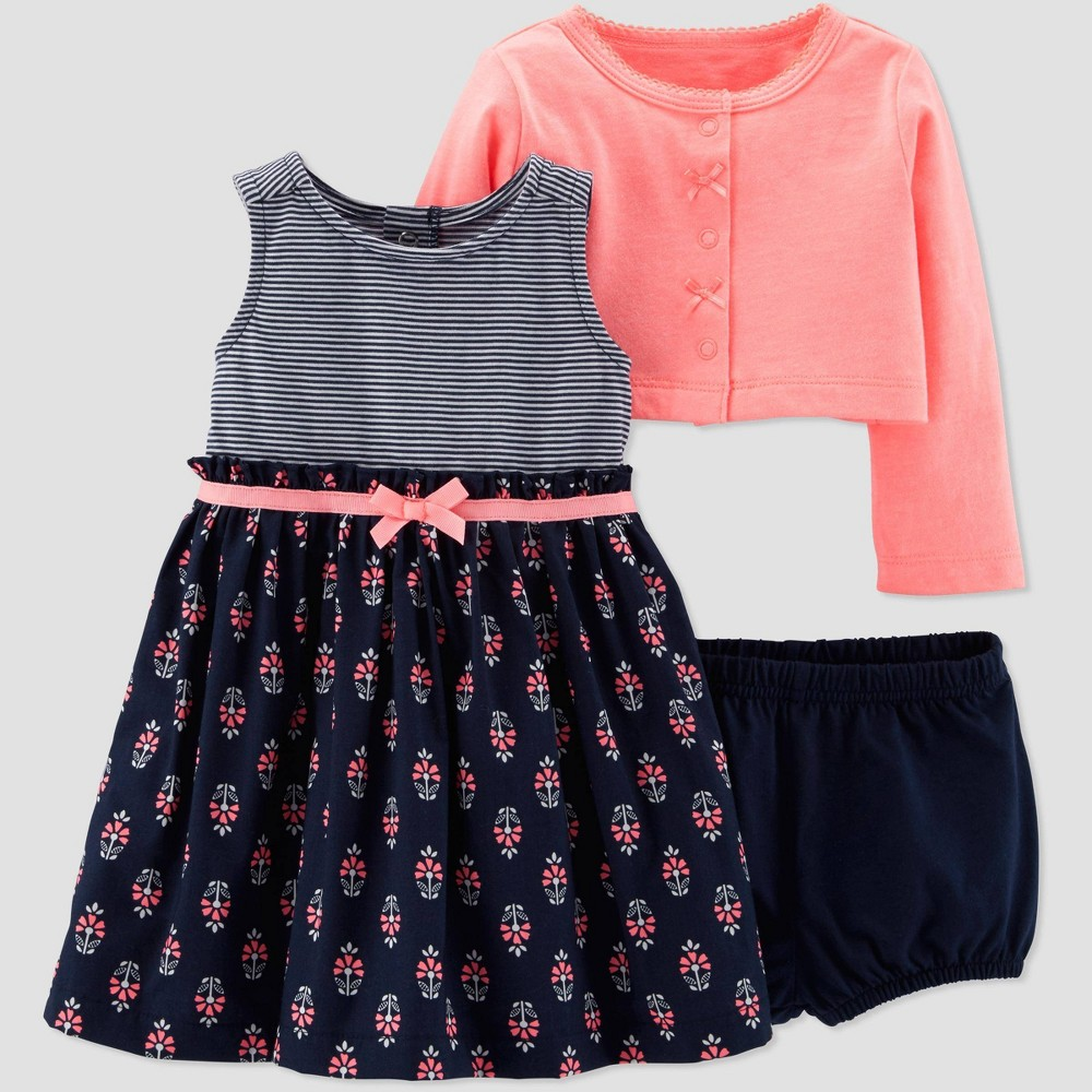 4d6407a6d Baby Girls 2pc Floral Dress Set Just One You made by carters Navy BluePeach  Newborn