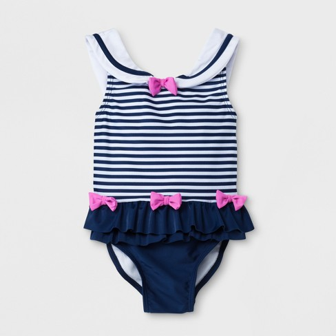 debe3ab90acfb Sol Swim Toddler Girls' Striped One Piece Swimsuit with Ruffle & Bows - Navy
