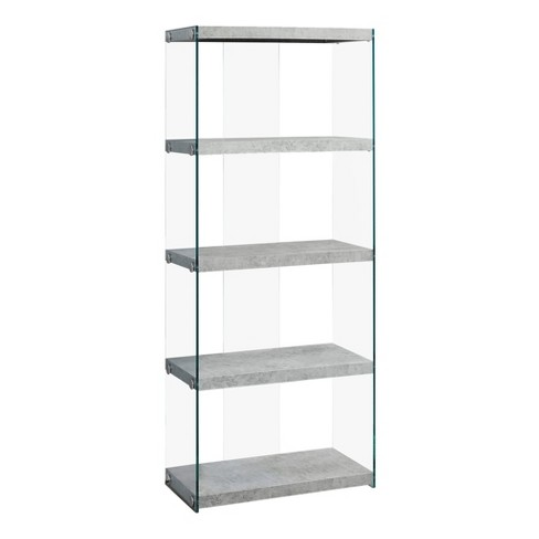 """Book Case Gray & Tempered Glass 16"""" - EveryRoom - image 1 of 2"""