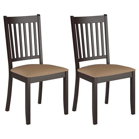 Atwood Dining Chair with Microfiber Seat Wood/Beige (Set of 2) - CorLiving - image 1 of 5
